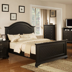 None - Napa Black King-size Bed - Give your boudoir a regal appearance with this Napa black king-size bed. Constructed of durable hardwoods and MDF,this bed features a chevron pattern veneer on the head and foot board. The beds modern cottage black finish lends a contemporary look.