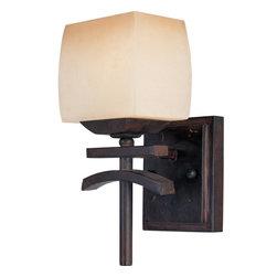 Joshua Marshal - One Light Wilshire Glass Roasted Chestnut Wall Light - One Light Wilshire Glass Roasted Chestnut Wall Light