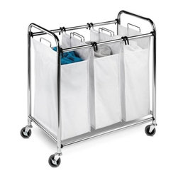 Heavy-Duty 3 Section Sorter, Chrome - Honey-Can-Do SRT-01235 Heavy-Duty Triple Laundry Sorter, Chrome. A sleek look for any laundry area, this triple laundry sorter is as good-looking as it is functional. The heavy-duty unit has three, full-size sorting bags which can be easily removed to transport laundry using the steel carrying handles. Reinforced seams on the cotton bags ensure they'll stand up to regular use. This sturdy sorter is made from a chrome-finished, steel frame and goes from room to room on smooth rolling swivel casters, which lock in place. Laundry day is a breeze with our triple laundry sorter.