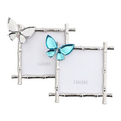 Z Gallerie - Butterfly Jeweled Frame - Our upbeat and fanciful Butterfly Frames are truly a treasure. The silver metal frames have all the markings of a bamboo stalk and are accented with a lovely mirrored butterfly alighting on the upper corner. The mirrored butterfly is beveled at the edges for a dressier look, and secured to its frame with sturdy prongs. Sold separately.