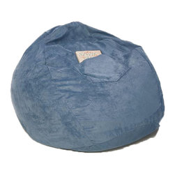 "Fun Furnishings - Fun Furnishings Micro Suede Small Bean Bag in Blue - Black micro Suede-teen chair by fun furnishings. Teen chair. This comfortable versatile sleeper chair is a big hit with teens and young teens. It is a sturdy yet light weight chair for their rooms and jus the thing for friends spending the night. Flip out the chair to make an instant sleeper 64"" inches long. Put two or more chairs together side by side to make a sectional. The possibilities are endless! it should be noted that while this chair is large enough to seat many older teens the fold out bed is 64 inches ( 5� 4"" ) long. Built-in durability. We've worked hard to make our furniture durable and help it retain its appearance. We use high-density foam to make the furniture hold up to the tough use it receives from kids. We include a layer of fiber on the seating surfaces to keep the fabric tight much longer."