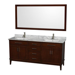 Wyndham Collection - Eco-Friendly Double Sink Vanity in Dark Chestnut - Includes matching mirror and white Carrera marble countertop with backsplash. Faucet not included. Undermount square porcelain sinks. 12-stage wood preparation, sanding, painting and hand-finishing process. Highly water-resistant low V.O.C. sealed finish. Transitional styling. Practical floor-standing design. Deep doweled drawers. Fully-extending under-mount soft-close drawer slides. Concealed soft-close door hinges. Metal exterior hardware with brushed chrome finish. Pre-drilled for a single faucet hole mount. 8 in. widespread 3-hole faucet mount. 1.25 in. mirror thickness. Plenty of storage and counter space. Engineered to prevent warping and last a lifetime. Made from zero emissions solid birch hardwood. Backsplash: 72 in. W x 0.75 in. D x 3.25 in. H. Vanity with countertop: 72 in. W x 22 in. D x 35 in. H. Countertop: 72 in. W x 22 in. D x 0.75 in. H. Mirrors: 70 in. W x 33 in. H (75 lbs.). Vanity: 72 in. W x 22 in. D x 35 in. H (184 lbs.). Warranty. Care Instructions. Vanity Installation InstructionsMirror Installation Instructions. Counter Handling InstructionsBring a feeling of texture and depth to your bath with the gorgeous Hatton vanity series. A contemporary classic for the most discerning of customers. The Wyndham Collection is an entirely unique and innovative bath line. Sure to inspire imitators, the original Wyndham Collection sets new standards for design and construction. Compliments any bathroom.