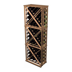 Designer Series Wine Racks - The Open Diamond Cube is similar to the Solid diamond cube, but is constructed of more affordable 1x2's and does not include face trim for a significant cost savings. Each wooden wine rack is 1 column wide x 3 cubes high. Each cube is comprised of 4 quadrants holding 10 bottles each. Product requires assembly. Please note: molding packages are available separately.