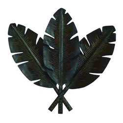 UMA - Tropical Leaf Trio Metal Art - Three large banana leaves detailed with ribbing and notched edges are featured in an upright position