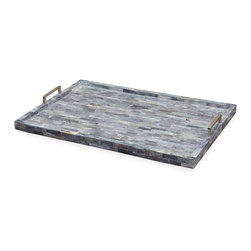 Kathy Kuo Home - Mayur Global Bazaar Blue Bone Serving Tray - Beautiful bone is inlaid to form a mosaic of blue and gray with polished nickel handles. Ample space and sturdy brass construction make the tray as functional as it is fabulous.
