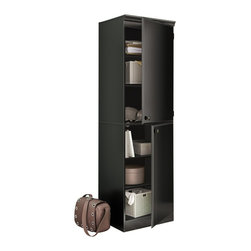 South Shore - South Shore Morgan Narrow Storage Cabinet in Pure Black - South Shore - Storage Cabinets - 7270973 - Ideal for your binders books or decorative items this versatile 5-shelf bookcase can meet all your storage needs even in tight spaces. Both functional and attractive with its sleek contemporary styling this bookcase is sure to enhance the look of any