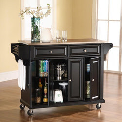 """Crosley - Kitchen Cart with Stainless Steel Top - Features: -Stainless steel top.-Two deep drawers.-Raised panel doors.-Spice rack with towel bar.-Product Type: Kitchen cart.-Collection: Alexandria.-Counter Finish: Stainless steel.-Hardware Finish (Base Finish: Black): Brushed nickel.-Hardware Finish (Base Finish: Classic Cherry): Antique brass.-Hardware Finish (Base Finish: Vintage Mahogany): Antique brass.-Hardware Finish (Base Finish: White): Brushed nickel.-Distressed: No.-Powder Coated Finish: No.-Gloss Finish: No.-Base Material: Hardwood and veneers.-Hardware Material: Steel.-Solid Wood Construction: No.-Exterior Shelves: No.-Drawers Included: Yes -Number of Drawers: 2.-Push Through Drawer: No.-Dovetail Joints: No.-Drawer Dividers: No.-Drawer Handle Design: Knob.-Silverware Tray : No..-Cabinets Included: Yes -Number of Cabinets : 3.-Double Sided Cabinet: No.-Number of Interior Shelves: 3.-Adjustable Interior Shelves: Yes.-Number of Doors: 4.-Magnetic Door Catches: Yes.-Locking Doors: No.-Door Handle Design: Knob..-Towel Rack: Yes -Removable Towel Rack: No..-Pot Rack: No.-Spice Rack: Yes -Removable Spice Rack: No..-Cutting Board: No.-Drop Leaf: No.-Drain Groove: No.-Trash Bin Compartment: No.-Stools Included: No.-Casters: Yes -Locking Casters: Yes.-Removable Casters: No..-Wine Rack: No.-Stemware Rack: No.-Cart Handles: No.-Finished Back: Yes.-Swatch Available: No.-Commercial Use: No.-Recycled Content: No.-Eco-Friendly: No.-Product Care: Use a soft clean cloth that will not scratch the surface when dusting. Use of furniture polish is not necessary. Should you choose to use a furniture polish, test in an inconspicuous area first. Use of solvents of any kind could damage your furniture's finish. To clean, simply use a soft cloth moistened with lukewarm water, then buff with a dry soft clean cloth..Specifications: -ISTA 3A Certified: Yes.Dimensions: -Overall Height - Top to Bottom: 36"""".-Overall Width - Side to Side: 52"""".-Overall Depth - Front to Back: 18"""".-Countert"""