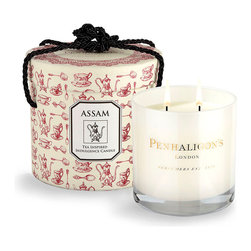 Assam Luxury Tea Candle - With a scent that is wonderfully evocative of an English rose garden on a brilliant summer morn, the Assam Tea Candle from Penhaligon's offers a robust fragrance rich with the redolence of green herbs and glorious rose. Penhaligon's are the holders of two coveted Royal Warrants, which recognize personal service, excellence, and quality of a high order.