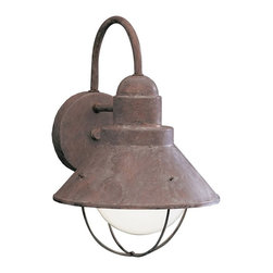 "BUILDER - BUILDER 9022OB Seaside Lodge/Country/Rustic/Garden Outdoor Wall Sconce - With an aura that is as pure as a sea breeze, the Seaside Collection offers the homeowner a unique line of outdoor fixtures guaranteed to bring a new identity to your home's landscape. For this 1-light Seaside Wall Lantern, aluminum with stainless steel is combined with Kichler's Olde Brick finish, resulting in a high quality fit that will look fantastic for years to come. The fixture houses a 100-watt (max.) bulb that provides outstanding outdoor illumination for your landscape. It is 12"" high, is U.L. listed for wet location, and is Dark Skies compliant."