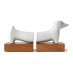 Jonathan Adler - Jonathan Adler Dachshund Bookends - Dazzle your bookshelf with Jonathan Adler's Dachshund Bookends. Produced by skilled artisans at the Jonathan Adler workshop in Peru. The Dachshund Bookends are handcrafted from high-fired stoneware. The Jonathan Adler Peruvian workshop was established through Aid to Artisans, a non-profit organisation that connects designers in America with artisans in developing countries to promote fair trade.