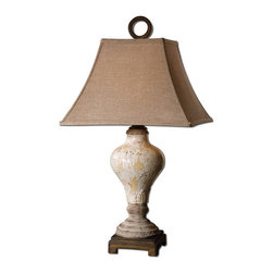 Uttermost - Fobello Decorative Lamps - Distressed, crackled ivory ceramic with tan undertones, rustic accents and dark bronze details