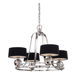 Quoizel - Quoizel UPGO5004IS Uptown Gotham Chandelier - Inspired by the rich, powerful lights within the shadows of Manhattan��_.Gotham comes alive defying darkness.  The Imperial Silver finish is completed by black shades with glass diffusers for a chic, sophisticated look.  The UPGO2823IS comes with a white linen fabric shade and glass diffuser.