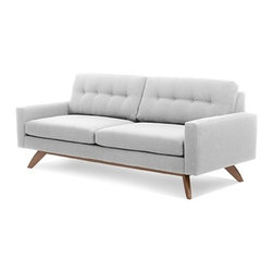 Truemodern - Luna Sofa - Luna Sofa by TrueModern  designed by Edgar Blazona Inspired by classic Danish modern design and softened by button-tufted back cushions, the Luna Sofa is the kind of piece you'd expect to keep for a long time. And because of its timeless design and sturdy construction, you can. Modern doesn't have to be cold and uninviting - and it sure can be comfortable. This modern sofa delivers both an invitation to sit and a warm reception when you settle into it.Luna Sofa Features:Button-tufted back cushions for a retro lookSturdy solid wood frameShips quickly30,000 rub count fabric