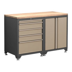 Newage Products - NewAge Products Pro Series 3-Piece Cabinetry Set in Taupe - NewAge Products Taupe Garage Cabinet Set Color: Sandstone Taupe Materials: Steel Cabinets/Solid Rock Maple Work Top