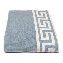in2green - Eco Greek Key Throw, Blue Pond - This beautiful solid throw with a classical design border will add both style and warmth to any room