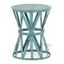 Boardwalk Stool - Bring the coast to your home with the cool, breezy style of this stylish stool. Airy aqua-hued metal crossbars make a neat contrast with the dark seat.