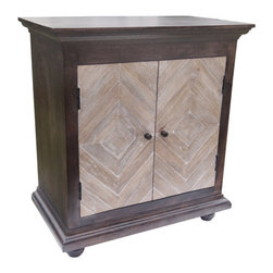 YOSEMITE HOME DECOR - 2 Door Cabinet - This stunningly clean and stateful solid mango cabinet adds beauty to any home. The worn black cabinet features two diamond patterned washed slat doors. A solid mango innerr shelf provides additional storage. Assembled, made in India.