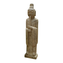 China Furniture and Arts - Stone Imperial Musician with Flute - This stone statue depicts a Chinese Imperial Musician with his flute. The musician plays music with a calm and peaceful facial expression, spreading feelings of zen and tranquility.  The partially polished stone finish gives the piece an interesting depth. A great work of  art and craftsmanship that is perfect for indoor and outdoor use in any season.