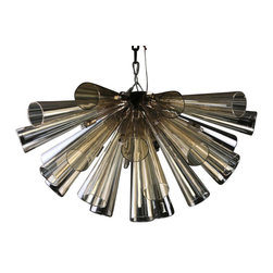 Viz Glass, Inc. - Flute Chandelier, Champagne - Create a bold, polished look in your dining room using the dramatic Flute Chandelier. This innovative piece is handblown from Italian Glass and features a cluster of smooth champagne-colored flutes. Variations may occur in individual pieces. Includes ten 25 watt G9 bulbs and a flush mount. UL listed. Hardwire; professional installation recommended.