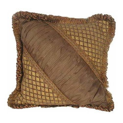 India House Brass, Inc. - Tuscany 18-Inch Square Pillow with Loop Fringe - Whether you are looking for plain or fancy, modern or traditional, our decorative pillows are just the right combination of modern function and vintage styling.  -Spot Clean Only India House Brass, Inc. - 84041