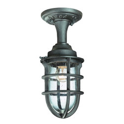 Troy Lighting - Troy Lighting Wilmington Traditional Outdoor Semi-Flush Mount Ceiling Light - Maritime inspired details create an eye-catching look to this Troy Lighting outdoor semi-flush mount ceiling light. From the Wilmington Collection, this charming design features a more historic look and is constructed of cast aluminum and clear seeded glass. The Nautical Rust finish completes this unique look.