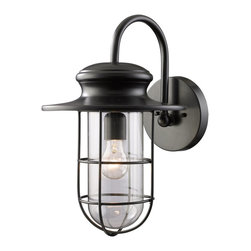 Elk Lighting - Elk Lighting Portside Transitional Outdoor Wall Sconce X-1/58224 - Inspired by nautical lighting, the Elk Lighting Portside Transitional Outdoor Wall Sconce features a matte black cage enclosing a clear, hand-blown glass shade. This nautical style outdoor wall light fixture also has an industrial look and would work in both indoor applications like bathrooms, mudrooms and kitchens as well as outdoors.