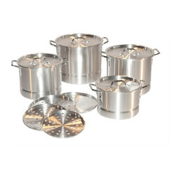 PRIME PACIFIC - Aluminum Stock Pot Set of 4 with Lids & Steamer Inserts 8qt, 12qt, 16qt, 20qt - This set of four stock pots features double riveted handles, as well as steamer inserts and lids for each size. The sizes included are 8qt, 12qt, 16qt and 20qt. The 8qt and 12qt have 1.2 mm think steel, and the 16qt and 20qt include 1.5mm think steel.