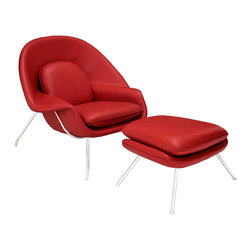 Modway Furniture - Modway W Leather Lounge Chair in Red - Leather Lounge Chair in Red belongs to W Collection by Modway Concerted efforts run deep in the expansively designed W Chair. First intended as a chair you ��_��_��_��_��_can curl up in,��_��_��_��_��_ it has since become a symbol for organic living. The natural motif portrays growth amidst silent resolve. Perhaps this is what makes the Womb both a reception and a lounge chair. Each of us would like to find our place as it were. Whether this means feeling welcomed in by the reception halls of businesses, or feeling welcome to relax into our own homes. While mid-century modernism showed us how to embark into the age of discovery, this finely upholstered classic taught us how to contemplate upon it. The shell of the W chair is made of molded fiberglass with foam padding. The legs are stainless steel and come with foot caps to prevent scratching on floors. Set Includes: One - Matching Ottoman One - W Lounge Chair Lounge (1)