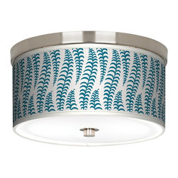 "Stacy Garcia - Stacy Garcia Fancy Fern Peacock 10 1/4"" Wide Ceiling Light - Match your d�cor with this energy-efficient flushmount light. This stylish, energy-efficient flushmount fixture features a pattern by designer Stacy Garcia printed on canvas. An acrylic diffuser at the bottom prevents glare from the two included CFL bulbs. The canopy and accents are in a brushed nickel finish. Flushmount style ceiling light. U.S. Patent # 7,347,593."