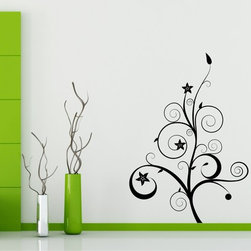 StickONmania - Plant Vine with Flowers #2 Sticker - A cool vinyl decal wall art decoration for your home  Decorate your home with original vinyl decals made to order in our shop located in the USA. We only use the best equipment and materials to guarantee the everlasting quality of each vinyl sticker. Our original wall art design stickers are easy to apply on most flat surfaces, including slightly textured walls, windows, mirrors, or any smooth surface. Some wall decals may come in multiple pieces due to the size of the design, different sizes of most of our vinyl stickers are available, please message us for a quote. Interior wall decor stickers come with a MATTE finish that is easier to remove from painted surfaces but Exterior stickers for cars,  bathrooms and refrigerators come with a stickier GLOSSY finish that can also be used for exterior purposes. We DO NOT recommend using glossy finish stickers on walls. All of our Vinyl wall decals are removable but not re-positionable, simply peel and stick, no glue or chemicals needed. Our decals always come with instructions and if you order from Houzz we will always add a small thank you gift.