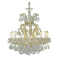 """Inviting Home - Maria Theresa Crystal Chandeliers (Select Crystal) - clear and gold Maria Theresa style crystal chandelier; 31"""" x 37""""H (19 lights); assembly required; 19 light select clear crystal chandelier with hand-molded arms and cut crystal components and trimmings; all metal parts have gold finish; genuine Czech crystal; * ready to ship in 2 to 3 weeks; * assembly required; This chandelier is a part of Maria Theresa Collection. At their start the chandeliers bearing the name of Maria Theresa were made on the occasion of the Empress's coronation as queen of Bohemia in 1743. This fact is hidden in the shape of these lighting fixtures reminiscent of the royal crown. Their characteristic feature is the arms' typical flat surface clad with glass bars. The bars are fixed to the arms by glass rosettes and beads with dangling cut crystal chandelier trimmings. These ravishing fixtures were inspired by a chandelier made for Maria Theresa in Bohemia in the mid 18th century. However not only the empress became fond of it; so did many others who fancied the style and the majestic manners after her. Typical elements are metal arms overlaid with glass bars and decorated with crystal rosettes. Originally the trimming was made of typical flat drops called """"pendles"""". Today trimmings of various shapes are used. Select crystal (or standard). Hand cut or partly machine cut chandelier trimmings. Inspired by rich glassmaking tradition as well as modern trends these crystals are characterized by distinct fire rainbow sparkle and purity of shape. Each piece is checked for accuracy of cut and its high quality is guaranteed. They will satisfy even the most discriminating customers. Chandelier trimmings of the Select type offer an opportunity to those searching for quality at a great value. The tradition of production luxurious appearance and classical morphology are the common denominator of all these chandeliers. To manufacture these almost 90 percent is hand-completed: mouth-blowing c"""