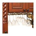 "Rev-A-Shelf - Rev-A-Shelf 3450-11ORB 11"" Quad Under Cabinet Stemware Rack - Oil Rubbed Bronze - Now you can consolidate cabinet space by utilizing the space underneath your cabinets, quickly turning the area into elegant and efficient storage for up to 12 wine glasses or other stemware. Installing with just four screws and featuring a 5/8"" thick heavy gauge wire construction, the Rev-A-Shelf 3450-11ORB Oil Rubbed Bronze Quad Stemware Rack is a must for anybody who drinks wine and may be looking for convenient place to store their wine glasses. This stemware holder has four rows, includes a unique mounting plate that allows for installation to framed or frameless cabinets, and comes in a beautiful oil rubbed bronze finish. Physical Specifications: 17"" W x 11"" D x 1-1/2""H. The Stemware Holder has a 3-1/2"" wide opening for glass base. Please make sure that your (under) cabinet has a depth of at least 11"" to ensure a proper fit. Double Wine Bottle Rack and Stemware are NOT included."