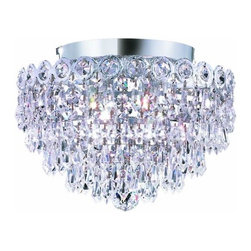 "PWG Lighting / Lighting By Pecaso - Agathe 4-Light 12"" Crystal Flush Mount 1617F12C-SS - This classical Agathe Crystal Chandelier with flowing symmetrical shape and nearly invisible frame offers a striking surge of brilliant light. Sconces and ceiling mounts enhance your room decor."
