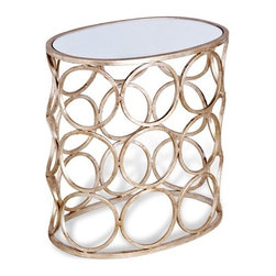 Interlude - Brigit Circle Side Table - Silver - Elegant side table in mirror and silver finish