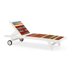 EcoChic Lifestyles - Second Wind Reclaimed Wood Sun Bed, Multicolored - Catch your breath in the inviting Second Wind Sun Bed and enjoy the view from the pool deck or cottage lawn. Variegated slats from retired fishing boats create a captivating pattern, like fingers of sun through stained glass. The marine-grade wood is highly durable and the design is pure decadence.