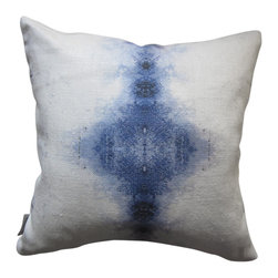 """Eskayel - Aquarius Indigo 18""""X18"""" Pillow - Indigo dye has come back in a big way, and this pillow is a perfect pop of the trend. It's a color that pairs well with neutrals and with fellow primary colors yellow and red. You would definitely be adding a special layer of sophistication and character to your couch with this."""