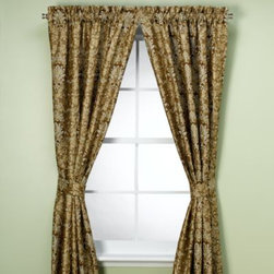 Home Fashions International, Inc. - Naomi Rod Pocket Window Panel - Create a regal look for your windows with these opulent window treatments. The heavy fabric with a tapestry-like design in shades of brown and ice blue with chenille details give any decor a classic look with timeless elegance.