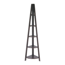 Office Star - Office Star Espresso Ladder Bookcase - Features: