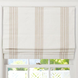 Riviera Stripe Cordless Roman Shade, Sandalwood - A soft, striped linen-blend shade is the perfect way to dress up a window and still let in much-needed natural light. This one comes in five different widths to accommodate varying window sizes.