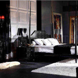 Armani Xavira Gothic Four-Poster Bedroom Set (Bed, 2 Nightstands, Dresser and Mi -