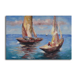 Duo of sail boats Hand Painted Canvas Art - Enjoy the best view of this race to the finish. Made with acrylic paints, this hand-painted canvas comes ready to hang. Display over the mantle — you'll love watching this never-ending race for years to come.