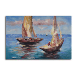 """Duo of Sailboats"" Hand-Painted Canvas Art"