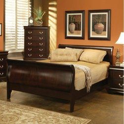 Wildon Home � - St. Paul Sleigh Bed - Create an ideal sanctuary to leave the day's troubles behind you with help from this beautiful sleigh bed. The piece carries a warm Cappuccino finish and is crafted from pine solids as well as cherry veneers. Simply stunning, this sleigh bed will bring absolute elegance to your bedroom decor. Features: -Traditional style.-Bed Design: Sleigh.-Boxspring Required: No.-Distressed: No.-Constructed of pine solid and veneers.-Finish: Cappuccino.-Distressed: No.Dimensions: -Assembled Weight: 104.75 lbs.-Overall Product Weight: 104.75 lbs.Assembly: -Assembly:.-Assembly Type: Assembly required.Warranty: -1 year warranty against manufacturer defects.