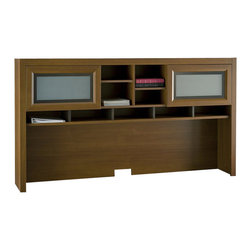 """Bush - Bush Achieve 70"""" Hutch in Warm Oak - Bush - Hutch - PR67311 - Complete your Achieve Collection L-Desk with this spacious and attractive overhead hutch. The hutch features open and closed storage overhead plus adjustable shelves. Wire management features make it easy to set up electronics and printers. Offered in Warm Oak finish and oil rubbed bronze hardware."""