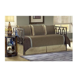 Leggett/Platt Fashion Bed - Stockton 5 Pc Daybed Ensemble - Includes comforter, bed skirt with split corners and three standard shams. Deep quilted comforter with 16 ozs. hand-packed bonded fiberfill. Shams with envelope style closure. 15 in. drop bed skirt. Made from 100% polyester. Chocolate brown, tan and shade of blue with green undertone color. Comforter: 55 in. L x 97 in. W. Tailored look that can bring strength and serenity to any room.