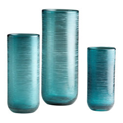Cyan Design - Cyan Design Medium Libra Vase X-85340 - From the Libra Collection, this Cyan Design vase draws your eye in with its contemporary shape and beautiful, calming blue tones. The cylindrical body is adorned with organic lines that have been etched into a horizontal pattern against the teal blue body.