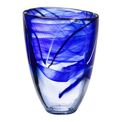 Kosta Boda - Contrast Vase, Blue - Designed by Anna Ehrner. With hand-applied decoration of swirls of contrasting calligraphic lines, each Contrast piece is a unique work of art which can be used everyday and or highlight the holidays. The pure forms are crystal arenas for the drama of free-flowing patterns that bring out the inner nature of the glass, making every piece unique. These dramatic pieces work into any interior design scheme, functionally or purely for display, and will be prized as a gift.