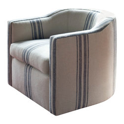 vanCollier - Caldwell Tub Chair - Caldwell Tub Club from the Cyrus collection. Swivel base.  Belgian linen.