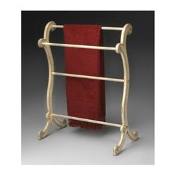 Butler - Clothes & Blanket Rack in Wood w Cream Finish - Designed with three horizontal bars for hanging blankets and linens of all kinds, this wooden rack is well-made with a cream-colored, hand-painted finish to accent your d̩cor. Show your appreciation for guests or enhance your own motif with this stylish piece. * Hand painted finish on selected hardwoods and wood products. Each unique to its wood. Horizontal rails for hanging quilts, comforters, bedspreads as well as blankets. Can also be used for hanging guest towels. 28 in. W x 15 in. D x 36 1/2 in. H