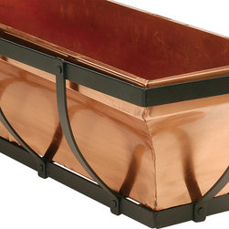 H Potter - H Potter Copper Window Box, 30 in. - There once was a man from Nantucket. Put all your stellar annuals in this copper bucket surrounded by black, powder-coated iron in a very Cape shape. It comes in a variety of sizes so you can fit your windows and fit your style while providing a profusion of color and form.